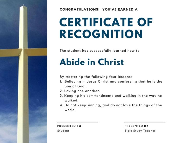 abide in God certificate
